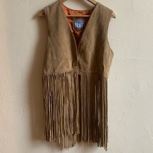 Vintage Genuine Leather Suede Fringe Vest